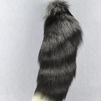 URSFUR Silver Fox Tail key chain Natural Color 18""