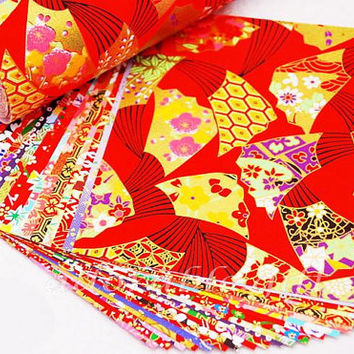 Origami Paper / Yuzen Chiyogami / Washi Paper / Japan Folding Paper / Traditional Japanese Favour Crafts 14* 14 / 20 sheets Set E