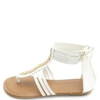 Chevron Embellished Thong Gladiator Sandals - White