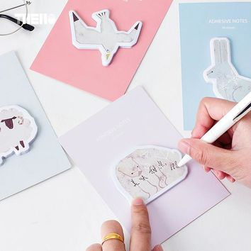 30 sheets/pcs Cute Animals Memo Pads Nordic Style Kawaii Rubbit DIY Bookmark Post It Sticky Notes Scrapbook Self-stick Notes