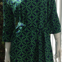 Escapada Charleston Tunic Dress Navy/Emerald St. Moritz SIZE XS ONLY