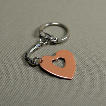 Copper heart key chain personalized for Mothers Day or just to give a little love