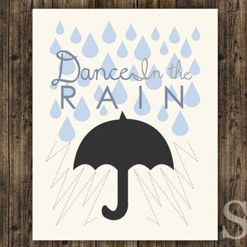 Dance in the Rain - Blue Wall Decor, Print, Poster, Picture Digital Print - 8x10