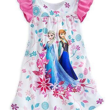 Licensed cool NEW Disney Store Frozen Elsa Anna White Flowers Nightshirt Nightgown Night Gown