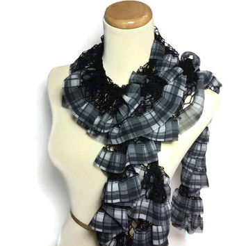 Tartan Plaid Scarf, Ruffle Scarf, Black Scarf, Fabulous Spring Scarf Is Perfect For Mother's Day