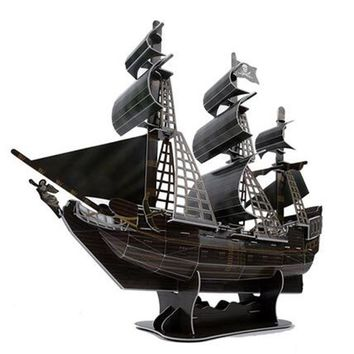 DIY 3D Paper Puzzle Toy Handmade Cardboard Puzzles Assemble The Black Pearl Ship Models Educational Kids Toys Brinquedos Adults