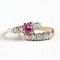 Pink Sapphire Ring Set - 14K Yellow & White Gold Matching Engagement Ring and Wedding Band - 1940s Size 6 Fine Bridal Jewelry Set
