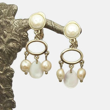 Monet Mother of Pearl Dangle Clip On Earrings - Vintage Faux Pearl Beaded Gold Tone Drop Swing Kinetic Earrings - Signed Designer Jewelry