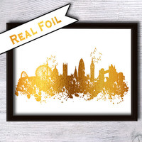 London print London skyline real foil poster Skyline gold foil print London cityscape poster Home decoration Office wall decor Gift art G37