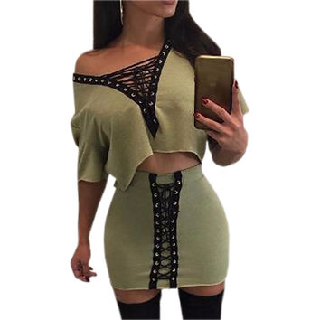 Sexy Bandage Bodycon Dress Set Women's Sexy Lace-Up V-Neck Short Sleeve 2 Piece Set Dress Summer Two-piece Outfit Female GV586
