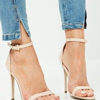 Missguided - Patent Pointed Toe Barely There Heels Nude
