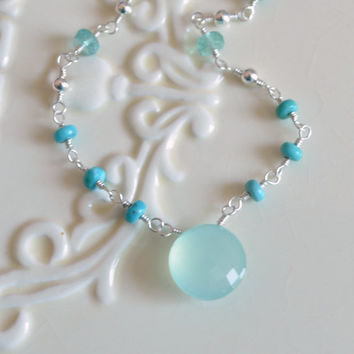 Real Turquoise Necklace, Sterling Silver, Wire Wrapped Jewelry, Apatite Aqua Chalcedony, Genuine Gemstones, Summer Jewelry, Free Shipping