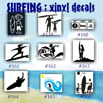 SURFING vinyl decals - 158-166 - vinyl stickers - car window decal - personalized stickers - surfer - surfer girl - car decals