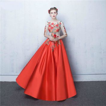 Flowers Embroidery Applique Contrast Red Prom Dresses Half Sleeves Nude See Through Corset Long Girs Prom Gown