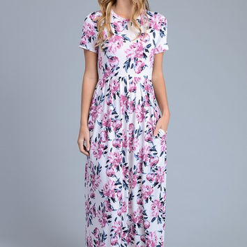 Short Sleeve Floral Maxi Dress - Ivory with Lavender Flowers