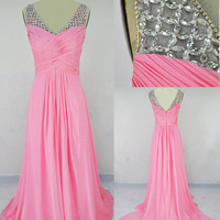 A Line Straps Beading Chiffon Prom Dress Evening by LvsFashion