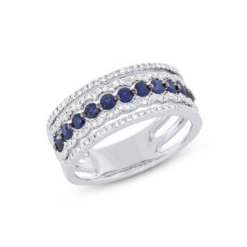 0.35ct Diamond & 0.65ct Blue Sapphire 14k White Gold Lady's Ring
