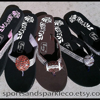 Sparkly Rhinestone Flip Flops with Sports Ball Charm - Baseball, Basketball, Football or Soccer