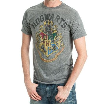 MPTS Harry Potter Hogwarts Crest Men's Athletic Heather T-Shirt - Wizard School