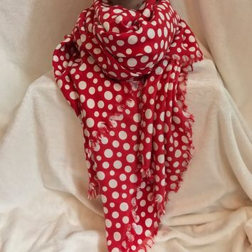 "LOUIS VUITTON Limited Edition YAYOI KUSAMA Red White Polka Dot Scarf, 58"" Sq."