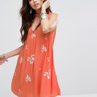 Honey Punch Sleeveless Smock Dress With Choker Neck And Floral Embroidery at asos.com