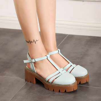 T Straps Buckle Sandals Women Pumps Platform High-heeled Shoes Woman