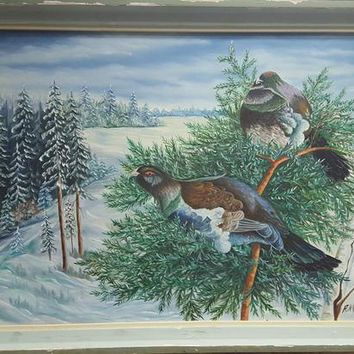 Vintage oil painting on canvas. Finland. Artist A.Nyglist- 1973 Primary condition. Landscape. Forest. Birds. Pheasant. Winter.