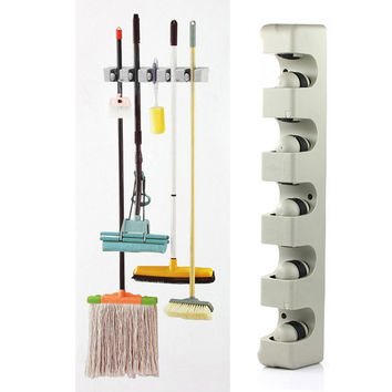 Kitchen Organizer Wall Shelf Mounted Hanger 5 Position Kitchen Storage Mop Brush Broom Organizer Holder Tool