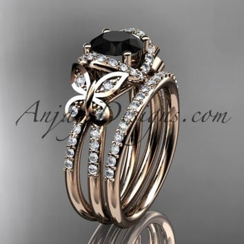 14kt rose gold diamond butterfly wedding ring, engagement set with a Black Diamond center stone ADLR141S