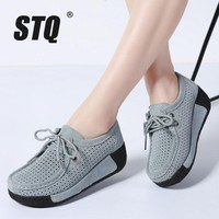 STQ 2018 Spring women leather suede flats women platform sneakers creepers cutouts lace up flats moccasins shoes woman 7182-1