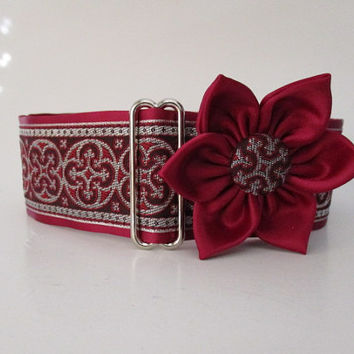 Burgundy Martingale Collar and Matching Flower, 2 Inch Martingale Collar, Greyhound Collar, Greyhound Martingale, SIghthound, Whippet Collar