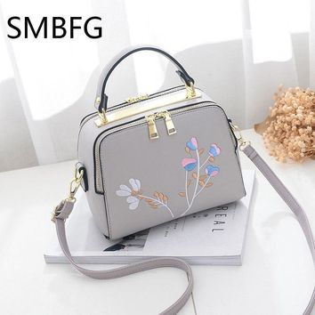 Floral Embroidery Women Leather Handbag Flap Small Bags For Lady Girl 2017 New Design Crossbody Female Messenger Bags