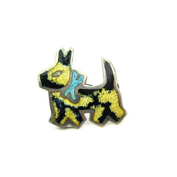 Enamel Dog Brooch. Sterling Silver Scottie. Colorful Terrier. Abalone Eye. Signed Vintage 1950s Mexican Scotty Figural Animal Jewelry.