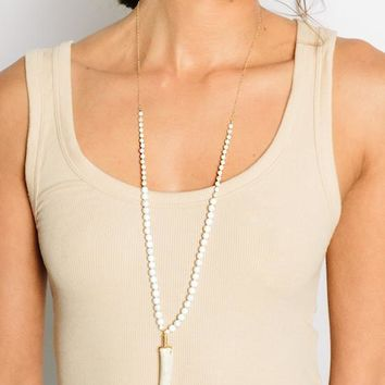 Tess and Tricia Elements Stone and Chain Necklace - White Turquoise