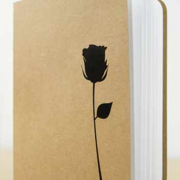 Rose Silhouette Notebook - Small notebook, Stationery, Journal, Notepad, Notebook journal, Cute notebook, Valentines gift for her, Love you