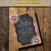 BURLAP DOILY Bridal Shower Invitation Chalkboard Eyelet Flower Country wedding Brunch Rustic Wedding Birthday invitation any color Teal Pink
