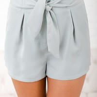 Never Felt So Right Tie Front Shorts (Light Sage)