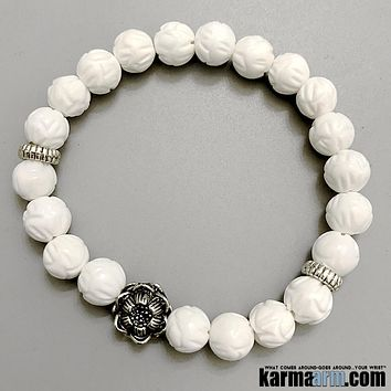 TRANQUILITY | Lotus Carved Tridacna | Lotus Flower Bracelet