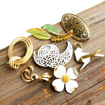 Vintage Brooch Lot - 7 Gold Tone Enamel Flower, Leaf, Origami Costume Jewelry Pins / Dogwood