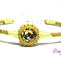 Khaki Kumihimo Bangle Bracelet with Luminous Green Crystal Stone, Braided Rope Crystal Bracelet, Elegant Woven Bracelet with 925 Silver