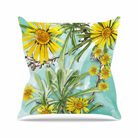 "Liz Perez ""Sunny Day"" Yellow Floral Outdoor Throw Pillow"