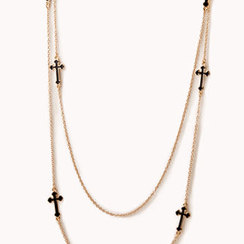 Chain Layered Cross Necklace