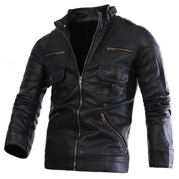 Multi-Zipper Stand Collar Long Sleeve PU Leather Jacket