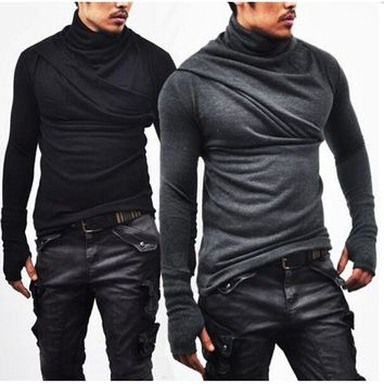 Autumn Men Cotton Long Sleeve Casual T Shirt Turtle Neck Silm Fit T-shirt