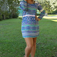 Swing From The Chandelier Dress: Blue/Multi
