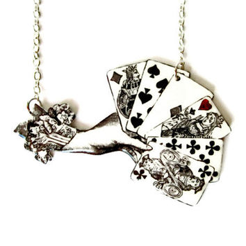 Playing Cards Necklace Victorian Gambling Illustration Deck of Cards Black and White Silver Statement Jewelry