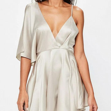 Silver One Shoulder Deep V-Neck Satin Skater Dress