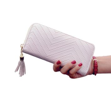 2017 New fashion Women Wallets Leather Cash Receipt Wallet female card holder Zipper Fringed Purse Large Zip Card Package Clutch