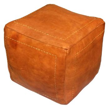 Square Moroccan Leather Poufs, Dark Orange Square Genuine Leather