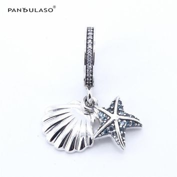 Pandulaso 925 Silver Tropical Starfish & Sea Shell Pendant Charm Fit Brand Bracelets & Bangle DIY Woman Beads For Jewelry Making